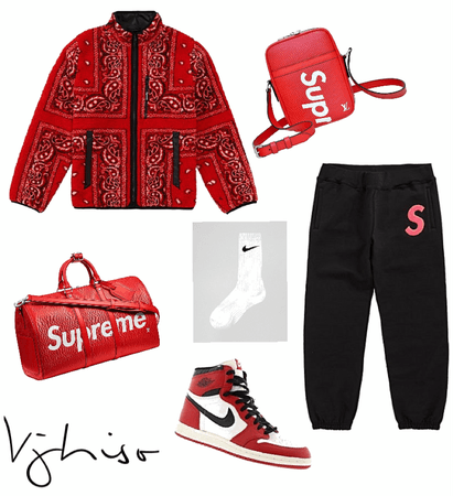 [india love insp.] Red Supreme // LV // Nike fit