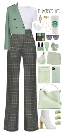 Pants Suit. Green combo