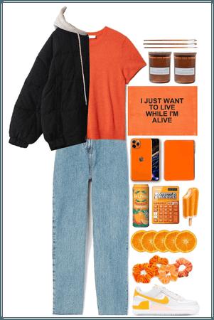 Warm coat + orange