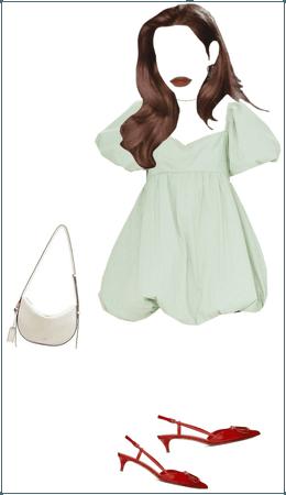 green dress + red slingback