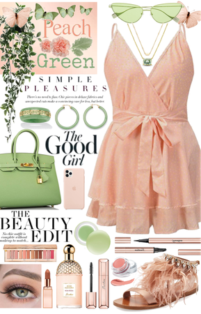 •Jade Green & Pastel Peach•