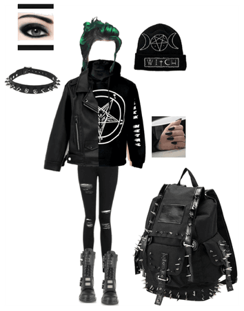 Gothic emo back to school outfit