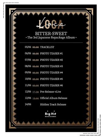 BITTER-SWEET [비터스윗] Japanese Repackage Álbum Schedule