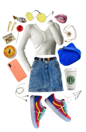white shirts & jean skirts