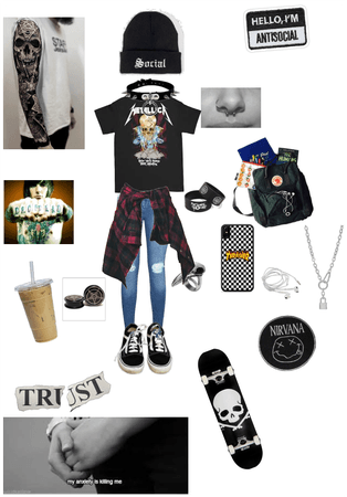 School emo/grunge/gothic outfit