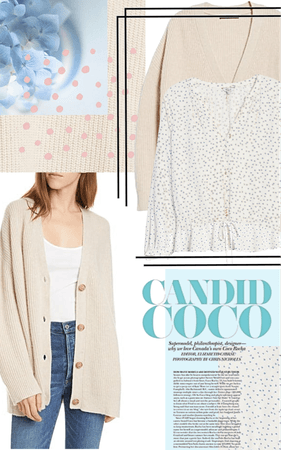 Knit cardigan and patterned blouse outfit