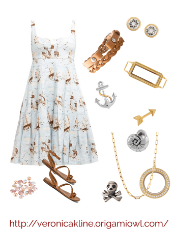 Pirate Ship Printed Sundress Outfit