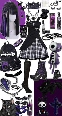 purple and black lolita goth
