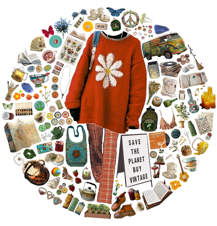 vintage clothes and flowers and letters