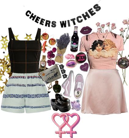 judy + mel - lesbian witch ocs