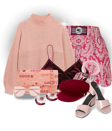 red maroon and blush pink outfit