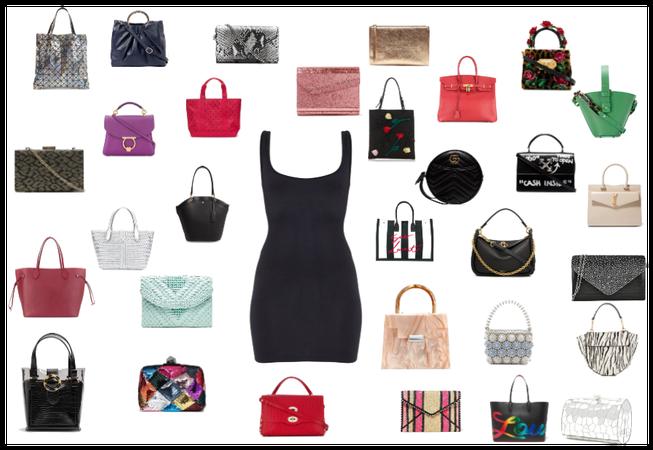 Black dress + bags