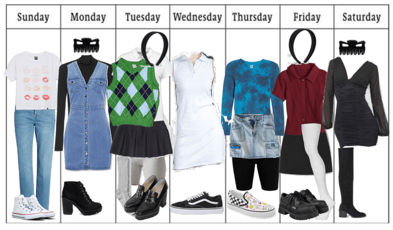 Seven Outfits, Seven Days of the Week