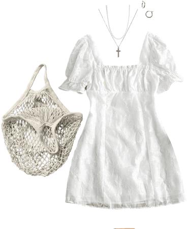 white cottagecore summer dress