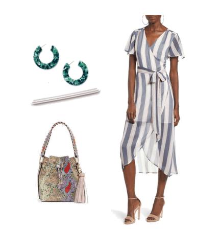 Wrap dress & tortoise earrings