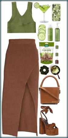 Knit Bralette. Green+Brown