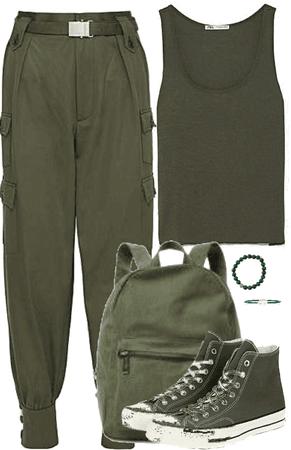 Outfit monocromático en verde