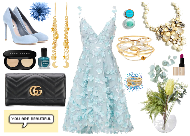 pastel blue party outfit