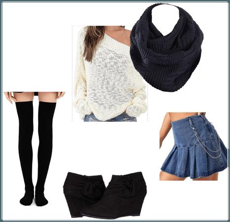 Sweater, Scarf, Denim Skirt, Stockings, Booties
