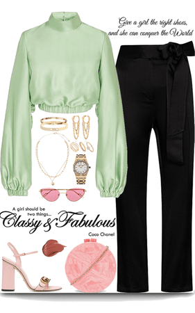 light green & pink outfit with gold jewelry