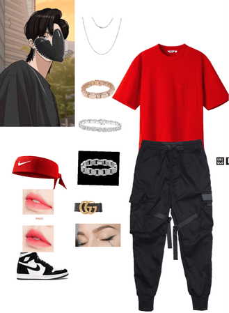 Skater outfit with makeup