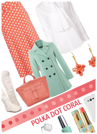 Polka dot Coral/pantone color of year