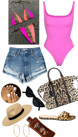 summer hot girl with some neon leopard style