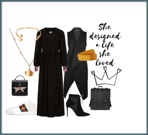 Black wrap dress outfit inspo AW