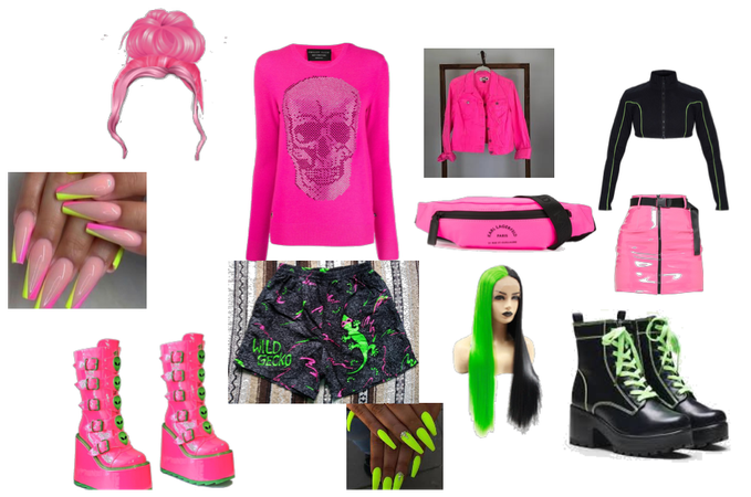 neon pink an d black outfit