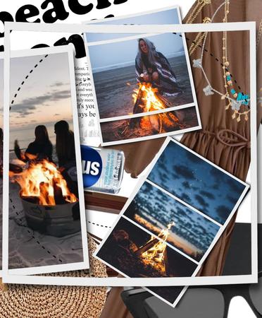 summer beach bonfire.