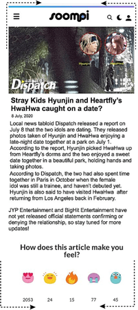 HEARTFLY (하트플라이요) [HWAHWA & HYUNJIN] SOOMPI DATING RUMOR ARTICLE