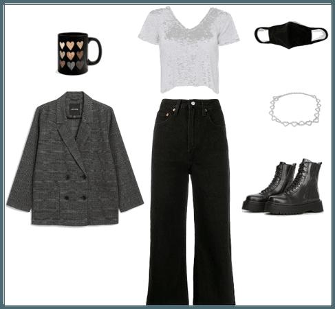 All black + grey blazer + mug
