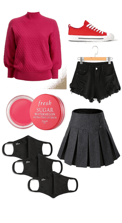 pink, red, and black school girl