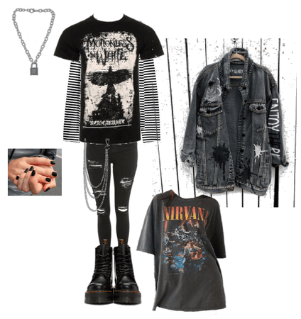 Emo grunge edgy style outfit