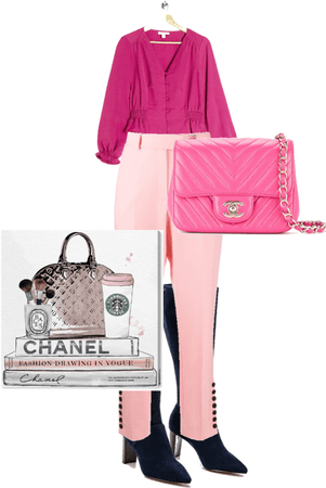 pink top and pink pants with chanel makeup and chanel pink purse with black boota