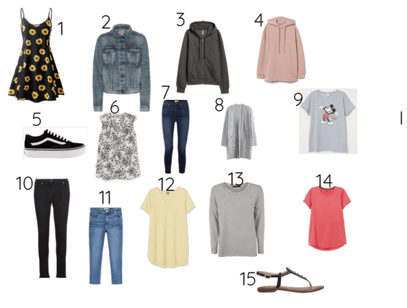 15 pieces of clothes