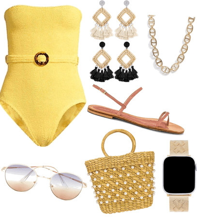 pool party yellow swimsuit