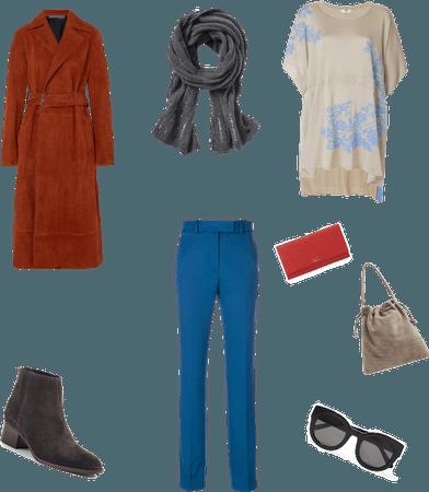 Blue red gray beige