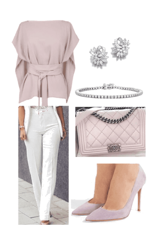 Light pink silk pant outfit