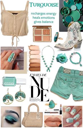 Turquoise & nude