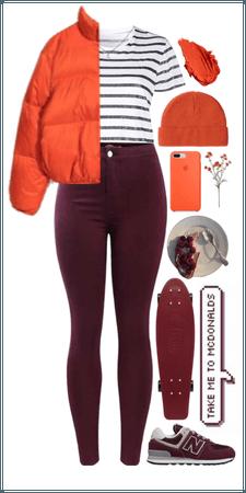 Orange and burgundy combo