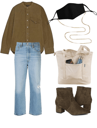 ootd work shirt suede boots