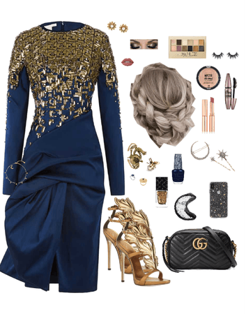 Gold Navy Blue Starburst