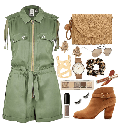 casual green and natural romper