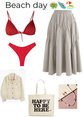 red and beige beach day