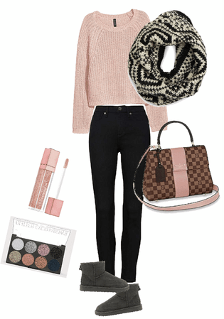 Casual weekend outfit - Black & Rose Color