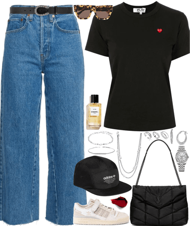 baseball cap outfit with silver jewelry