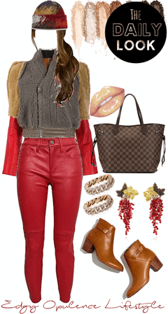 Faux Fur & Red Leather