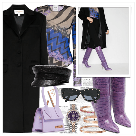 purple high knee boots