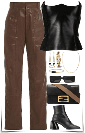 Black & brown leather outfit